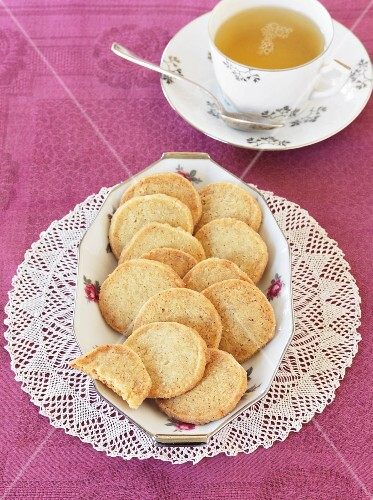 German shortbread biscuits and a cup of tea