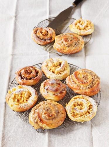 Nut buns with a sugar glaze