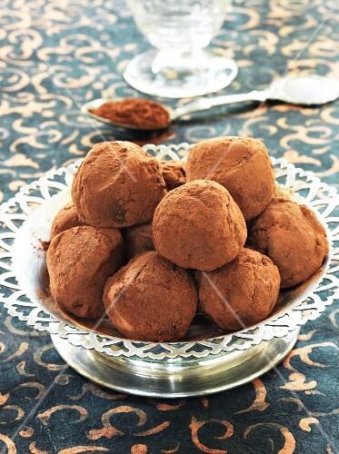 Chocolate truffles in a metal dish