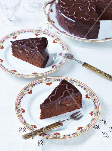 Sachertorte (chocolate cake), a piece removed