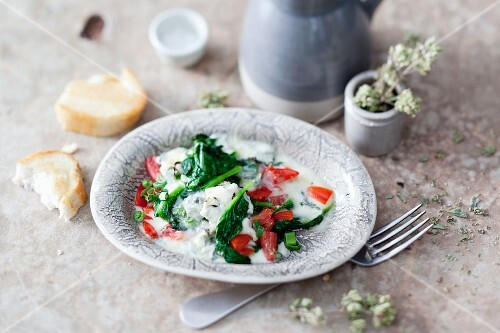 Raclette spinach pancakes with tomatoes and Gorgonzola