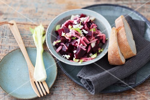 Beetroot salad to be served with raclette