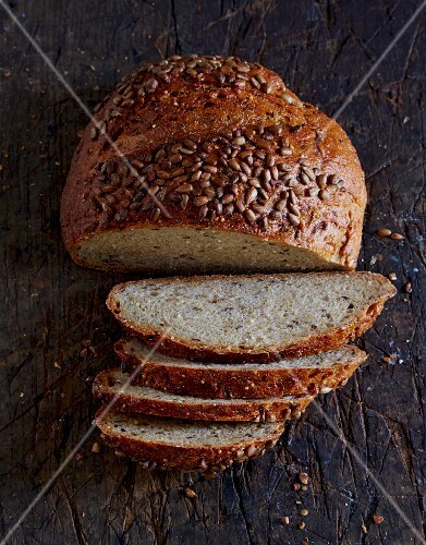 Wholemeal bread made with oats, barley, buckwheat, millet and flax seeds