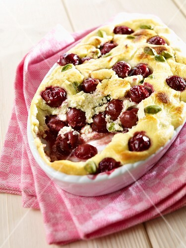 Sour cherry and pistachio bake
