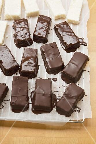 Chocolate-glazed coconut bars
