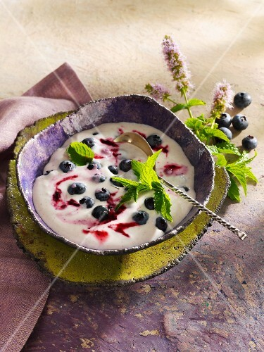 Lime and coconut quark with blueberries