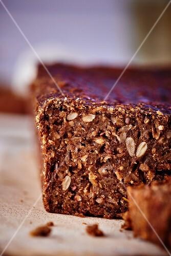 Dark wholemeal bread, sliced