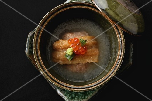 Eel in broth with caviar (Japan)