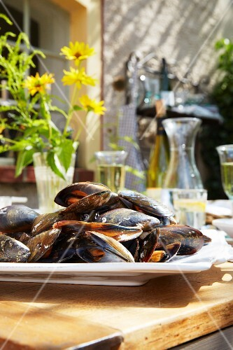 Mussels on a garden table