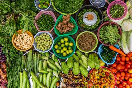 Exotic vegetables at a market stall in Yangon, Myanmar