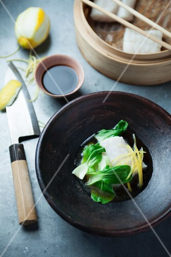 Steamed cod in a soy broth (Asia)