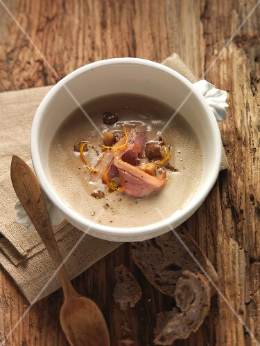 Chestnut soup with duck breast