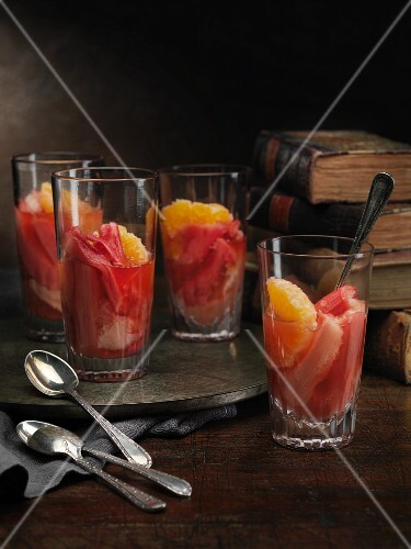 Rhubarb and clementine compote