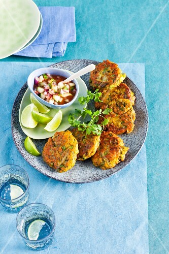 Oriental fish cakes with a spicy sour sauce