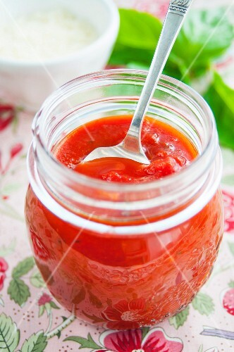 A jar of homemade tomato sauce