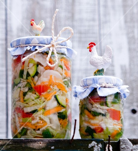 Jars of lactofermented pickled vegetables