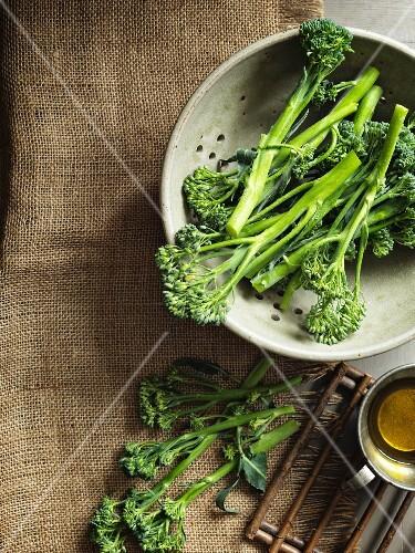 Fresh broccoli in a colander