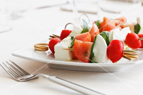 Spiedini alla caprese (tomato, mozzarella and basil skewers, Italy)