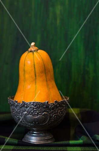 A squash in a pewter bowl