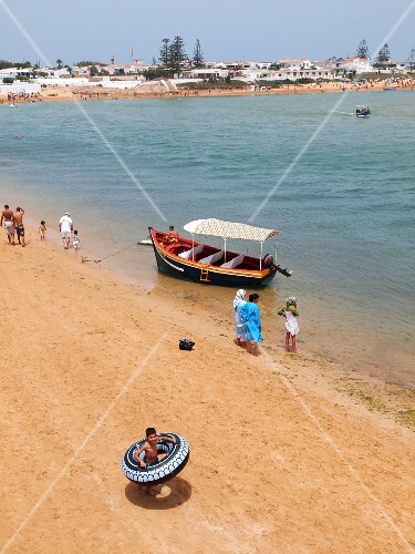 The sandy beach of Oualidia, holiday resort on the Atlantic coast of Morocco