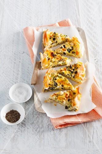Vegetable tart with feta cheese