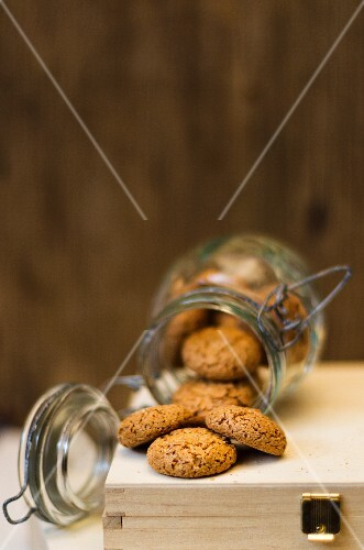 Amaretti in an overturned jar