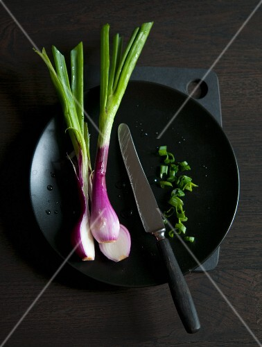 Spring onions on a black plate with a knife (Asia)