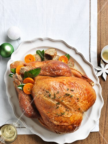 Roast turkey with a chestnut and sage filling