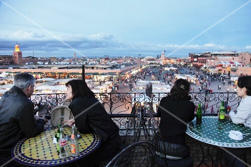 The view from the roof terrace of a cafe of Jemaa el-Fna Square in Marrakesh, Morocco (Inscribed on the UNESCO Representative List of the Intangible Cultural Heritage of Humanity)