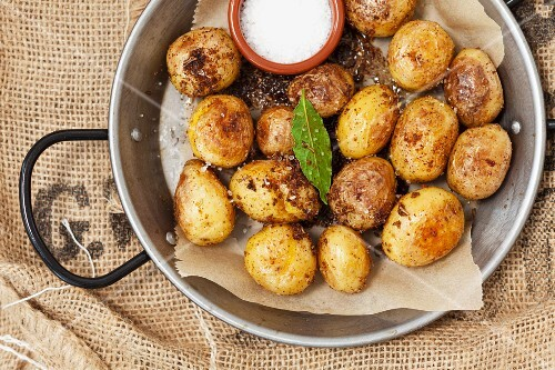 Mini roast potatoes with a Parmesan coating