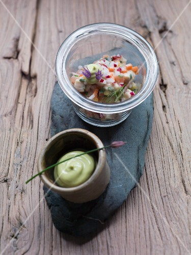 Smoked trout tartar with chive cream