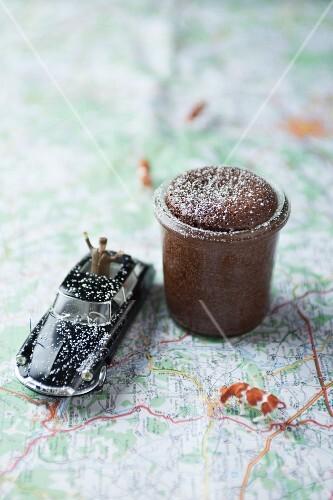 A chocolate soufflé on a map