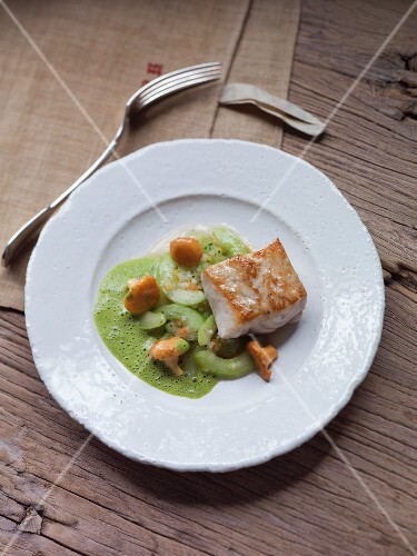 Sturgeon fillets with cucumbers and chanterelle mushrooms