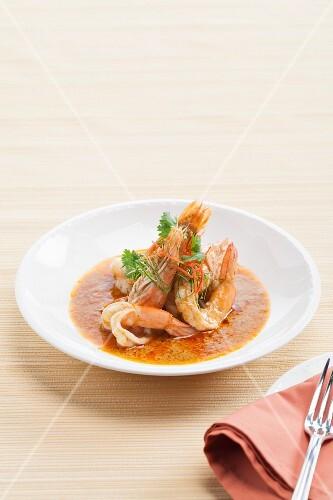 Prawns in a Chu Chee curry sauce (Thailand)