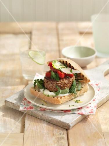 Ciabatta burger with mozzarella and rocket