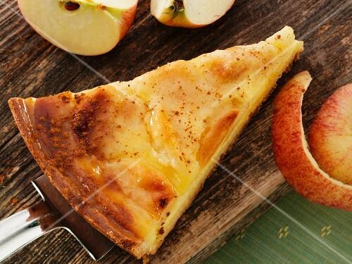A piece of apple tart on a cake slice