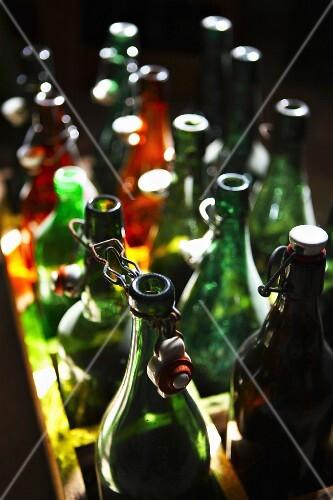 Empty beer bottles with flip-top caps