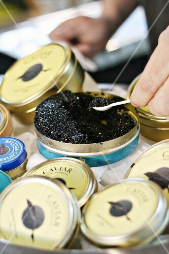 Black caviar in opened tin