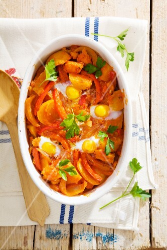 Bacalao a la Manchega (stockfish and vegetable bake with peppers and saffron, Spain)