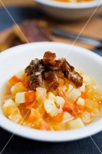 Turnip, pumpkin and pork dripping stew