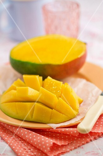 Sliced mango on a plate