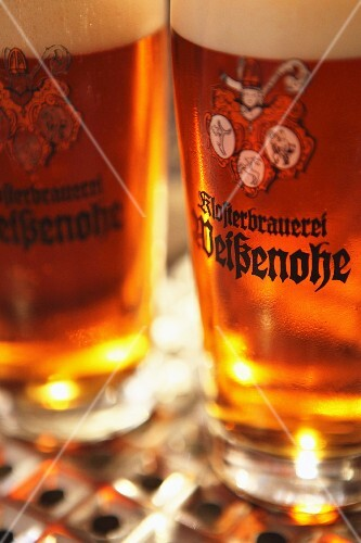Glasses of beer from the Klosterbrauerei Weissenohe (Franken, Germany)
