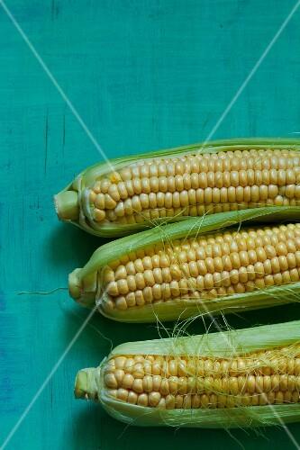 Three corn cobs (seen above)