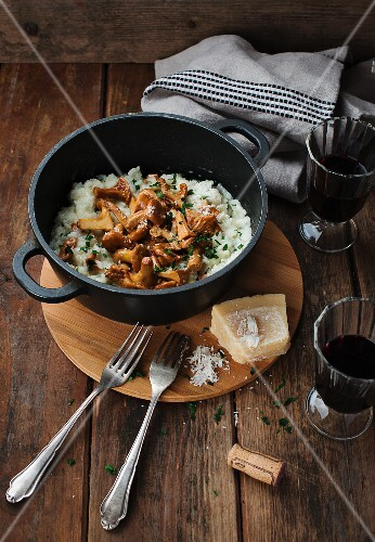 Mushroom risotto with Parmesan and red wine