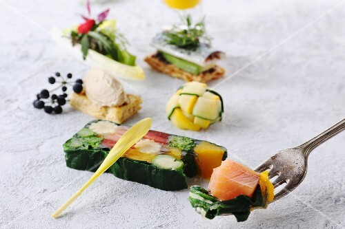 Salmon terrine and various appetisers