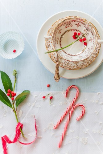 A place setting and candy canes