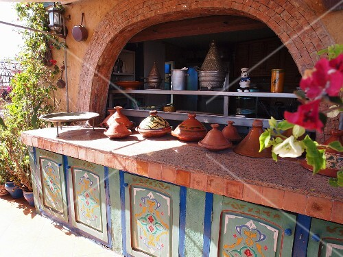 The tagine buffet on the terrace of the Riad le Mazagao in El Jadida, Morocco