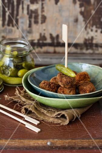 Meatballs with gherkins