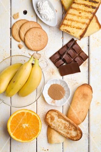 Various baking ingredients and fruits