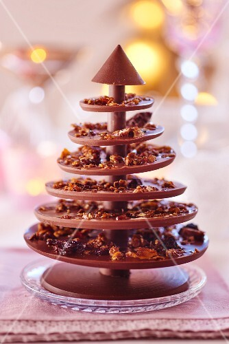 A chocolate Christmas tree with brittle